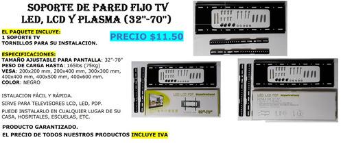 soporte de pared fijo tv led, lcd y plasma (32''-70'')