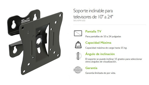 soporte de pared monitor o tv klip 650 10 a 24 pulgadas