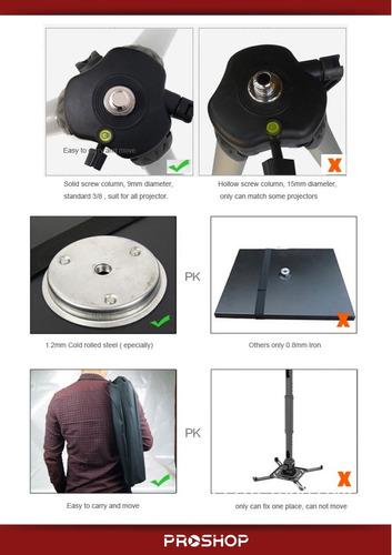 soporte de pie proyector tripode hasta 10k 52 a 140 cm plano