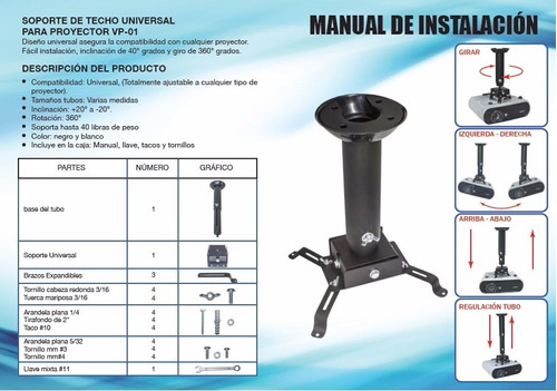 soporte de techo para proyector universal vp-01 5 cm