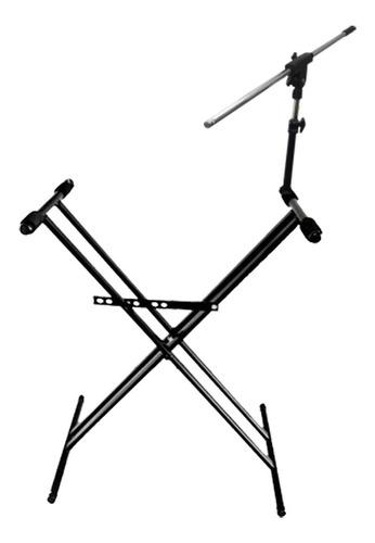 soporte de teclado tijera doble 18218 + soporte de micrófono