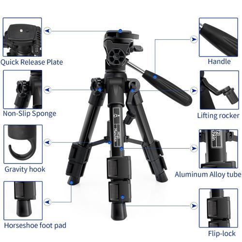 soporte de trípode para cámara mini viaje, herbon 12-21 pulg