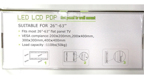 soporte de tv fijo para led, lcd plasma 26 32 42  55 60 63