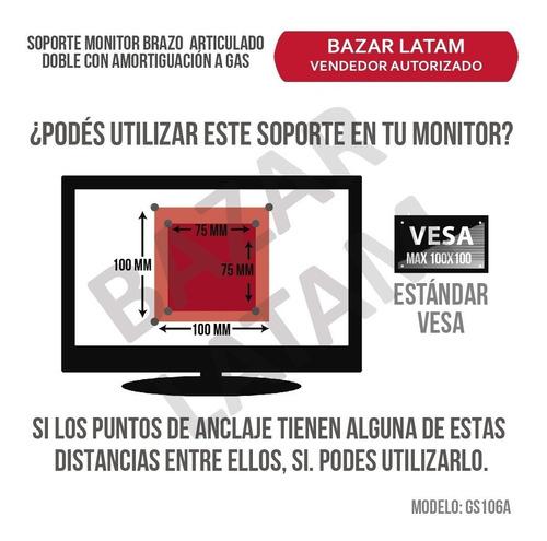 soporte doble monitor de escritorio con amortiguación a gas