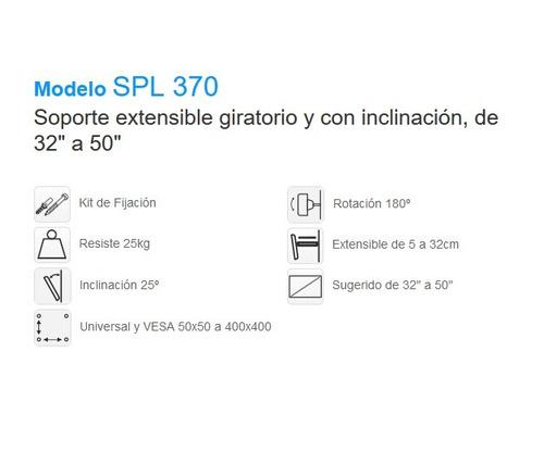soporte extensible giratorio con inclinación 32 a 50  spl370