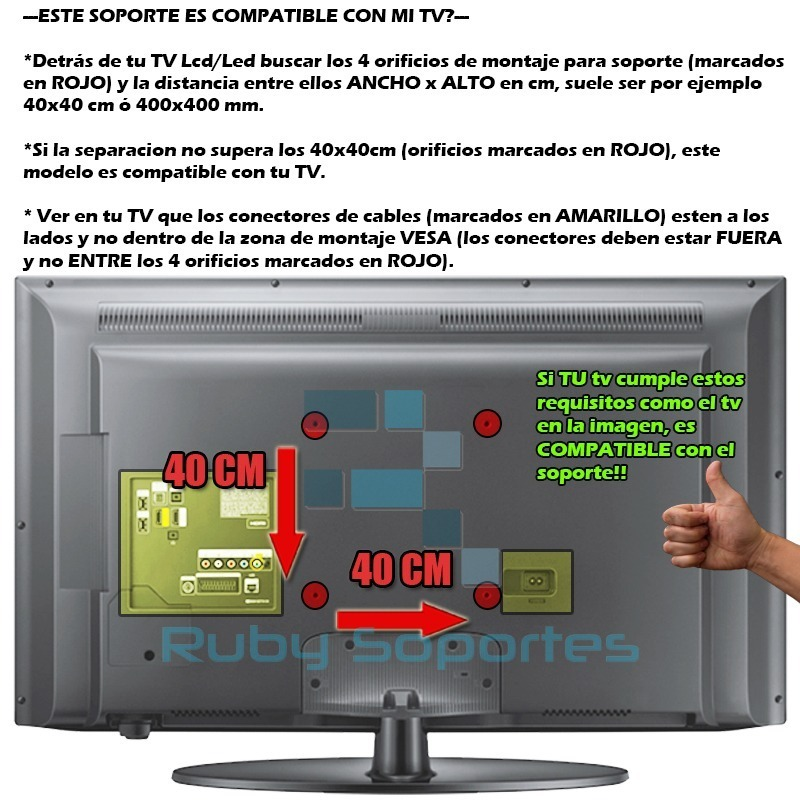 46cdc03496d Soporte Fijo Inclina Tv Led Lcd 32 40 42 46 43 49 50 55 Tcl - $ 699 ...