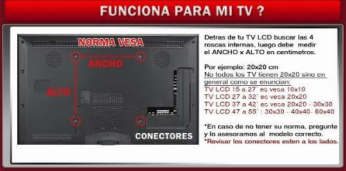 soporte fijo smart lcd led tv 24 32 40 42 43 inclina mi2022