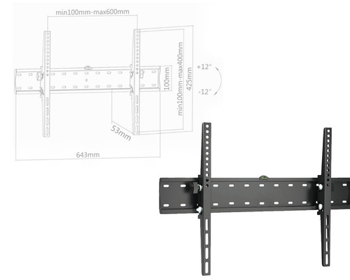 soporte ghia led a pared 37-70 max 40kg inclinacion de 12g