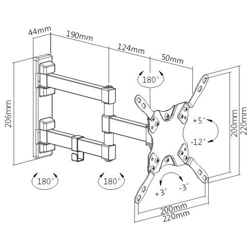 soporte giratorio brateck para televisores de 13 - 43