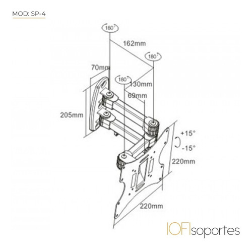 soporte lcd led iofi 32 39 40 42 43 articulado triple brazo