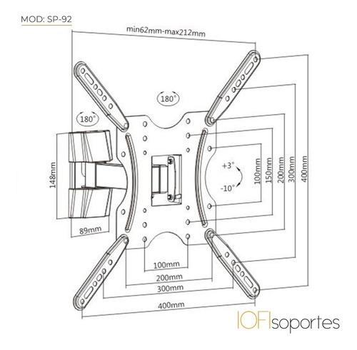 soporte led articulado móvil iofi 65 55 50 49 43 42 40 39 32