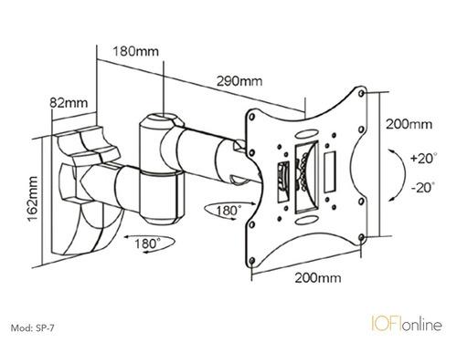 soporte led iofi 40 39 43 24 32 móvil con cubre cables