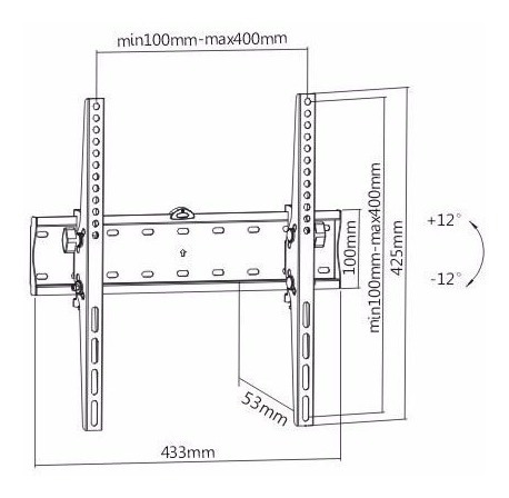 soporte led lcd inclinacion tv 32-55  40kg sop53 metinca