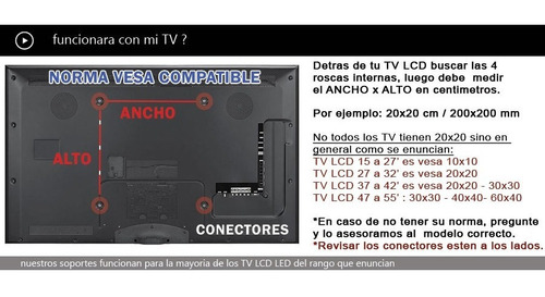 soporte led lcd tv 60 55 50 49 47 43 32 ss4045 inclina