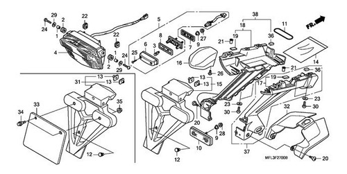 soporte luz patente lado izquierdo original cbr 1000r 2009