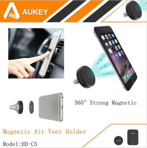 soporte magnético celular carro rejilla aukey iphone samsung