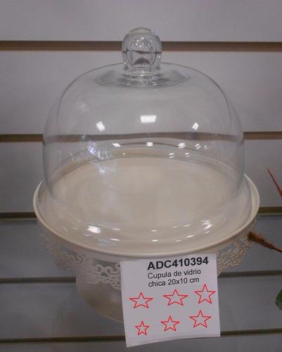 soporte metal  para torta con cupula de vidrio 20cms