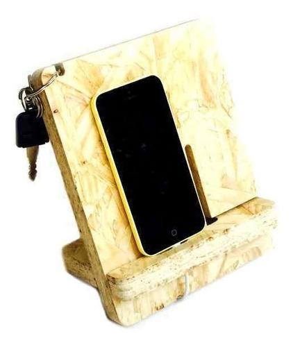 soporte mobi celular organizador escritorio madera osb recic