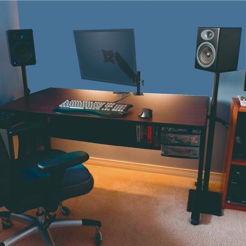 soporte monitor escritorio altura regulable rotacion