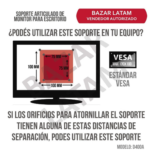 soporte monitor led escritorio aluminio full motion 13 a 27