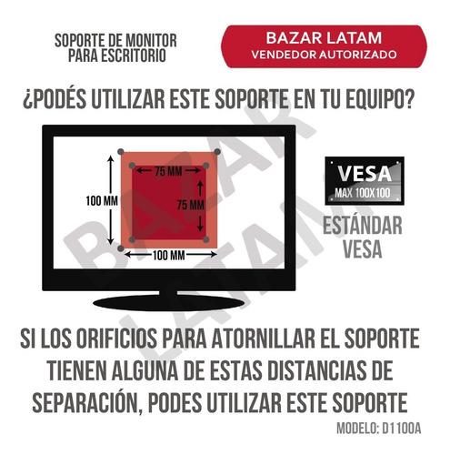 soporte monitor tv led lcd para escritorio 13 a 27 pulgadas