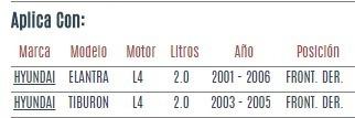 soporte motor front der hyundai elantra 2.0 2001 a 2006 vzl