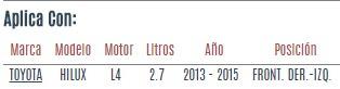 soporte motor front. toyota hilux l4 2.7 2013 a 2015 vzl