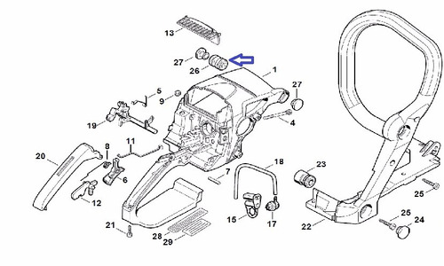 soporte o amortiguador de motosierra stihl ms-310, ms-390