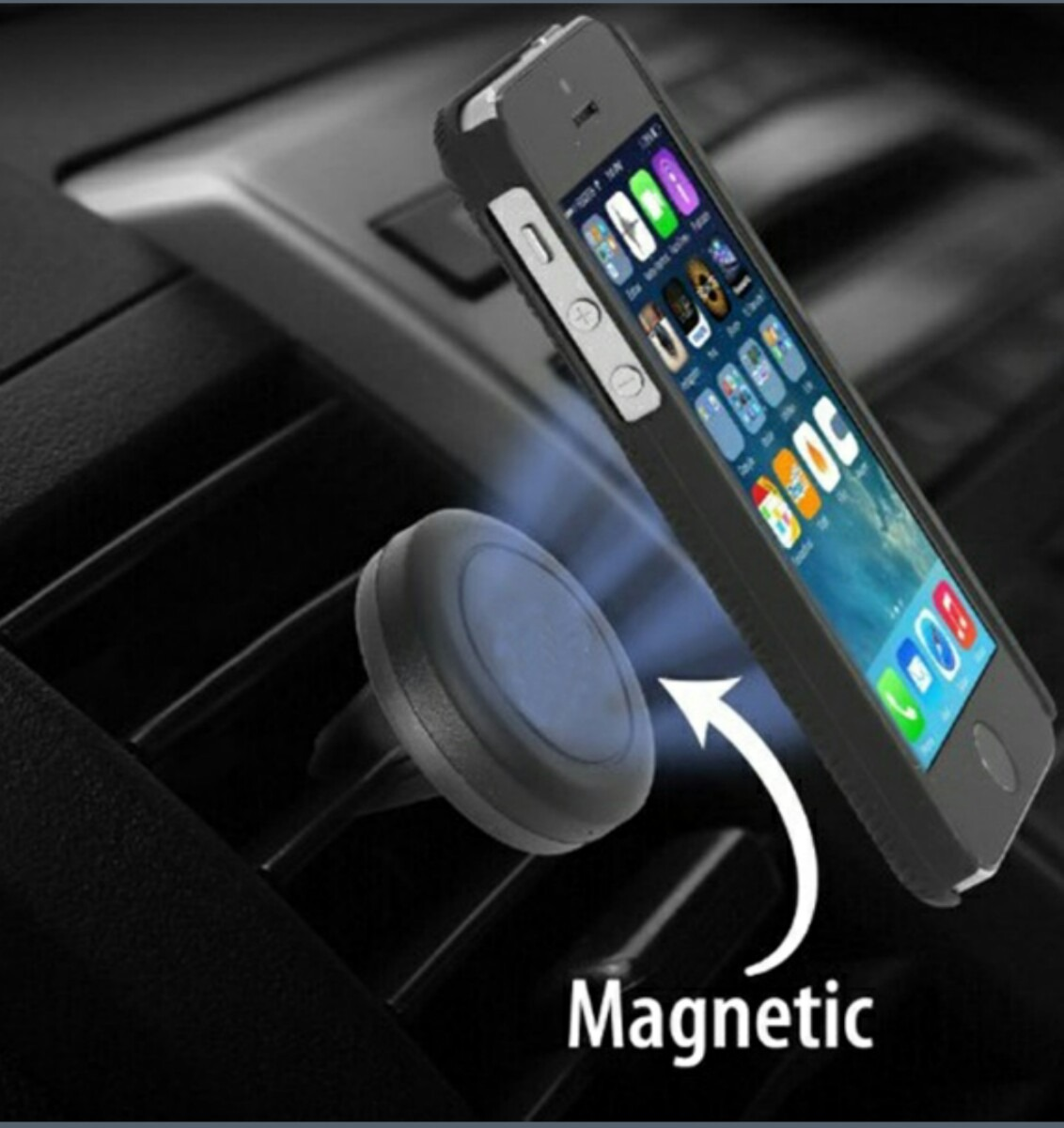 Magnetic car phone holder vent