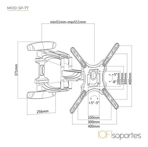 soporte para led smart curvo iofi móvil hasta 75  sp-77