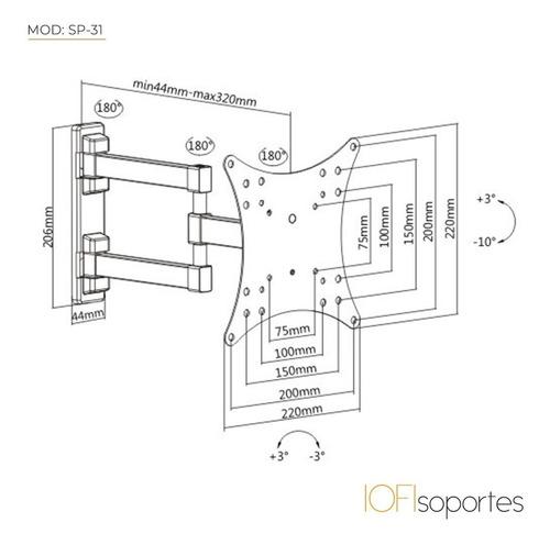 soporte para led smart lcd iofi articulado móvil 32 40 42 43