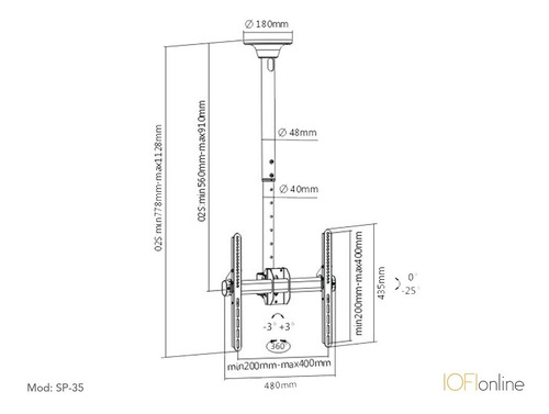 soporte para led techo iofi móvil  32 40 42 43  49 50 55 60 65