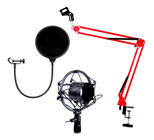 soporte para micrófono brazo + filtro antipop + shock mount