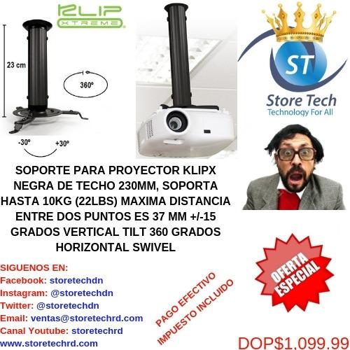soporte para proyector klipx negra de techo 230mm, soporta h