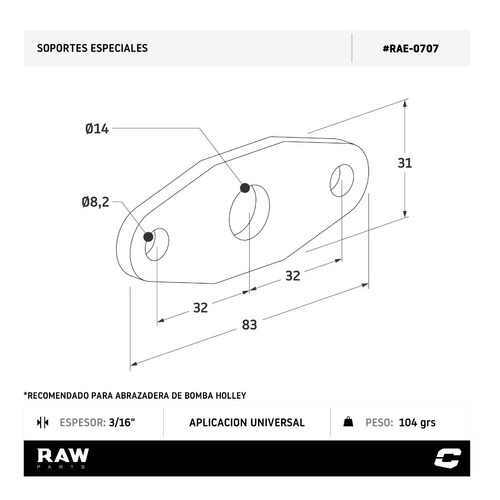 soporte para soldar bomba de nafta holley raw parts