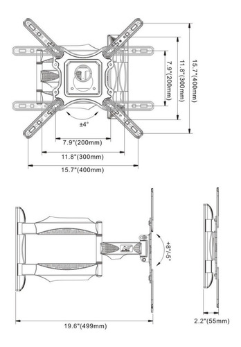 soporte para tv brazo north bayou  p4 32  a 58  original
