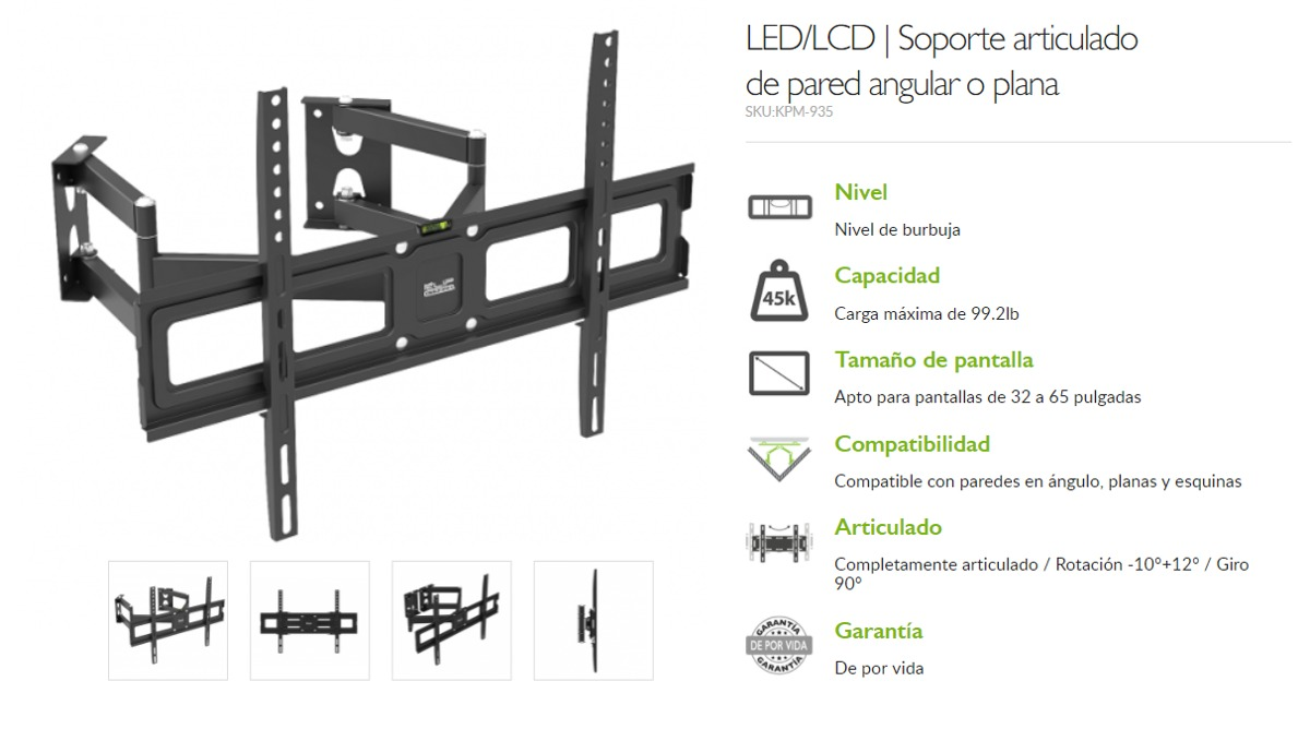 Soporte Para Tv Lcd Led 32 A 65 \' Inclinable Y Giro Klip 935 - U$S ...