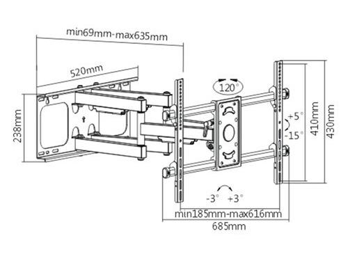 soporte para tv led iofi 75 65 55 50 43 40 32 móvil reforzado