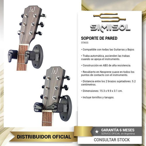 soporte pared guitarra bajo traba automatica autolock full