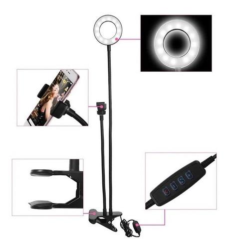 soporte pinza celular 2 en 1 aro luz led selfie zoom tiktok