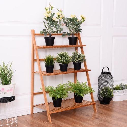 soporte plegable 3 niveles bambú flor olla útil planta