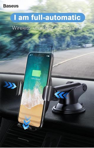 soporte porta celular auto carga wireless qi samsung iphone