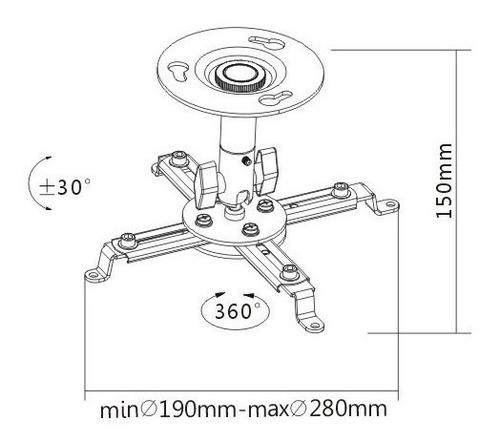 soporte proyector techo pared giro 360 grados universal