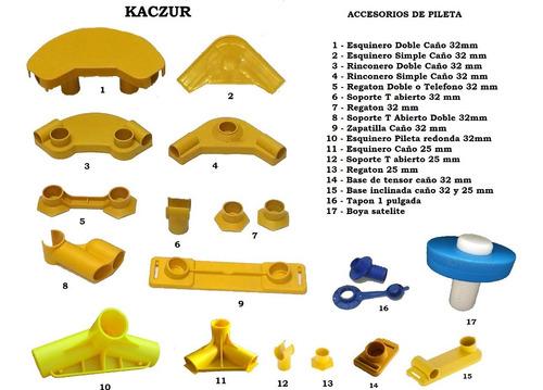 soporte t union  repuesto pileta lona kit x 4  kaczur