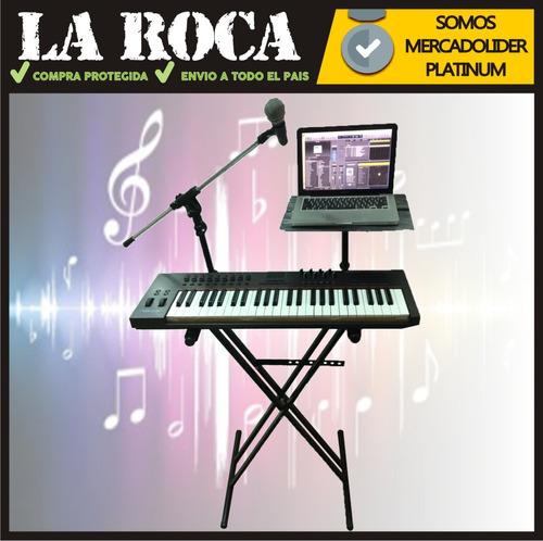 soporte teclado con mesa para notebook y pie de microfono