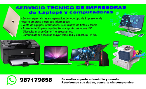 soporte tecnico de impresora, laptops y computadoras.
