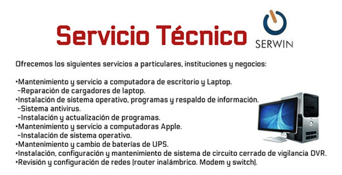 soporte técnico especializado en pc's, laptops y servidores