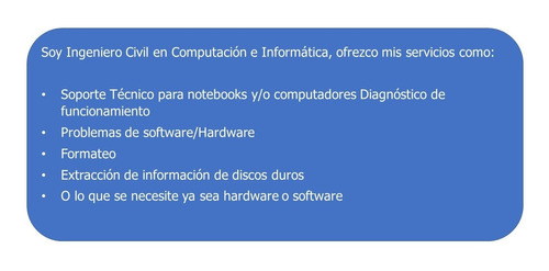 soporte tecnico para notebook y/o computadores