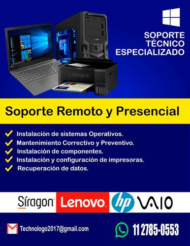 soporte técnico pc, notebook, impresoras a domicilio