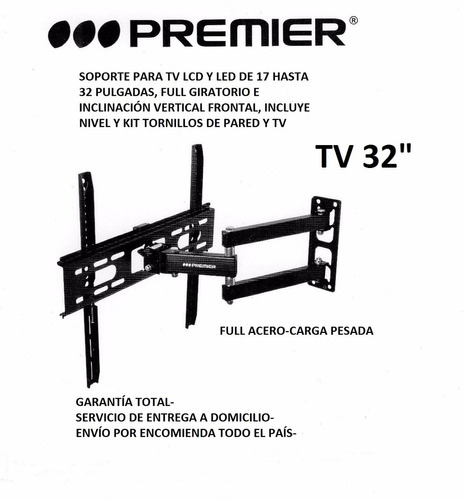 soporte tv 17 a 32 pulg, full acero, extendible, giratorio